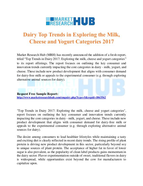 Market Research Report Dairy Top Trends in Exploring the Milk and Cheese