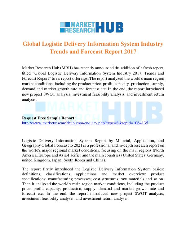 Market Research Report Global Logistic Delivery Information System Market