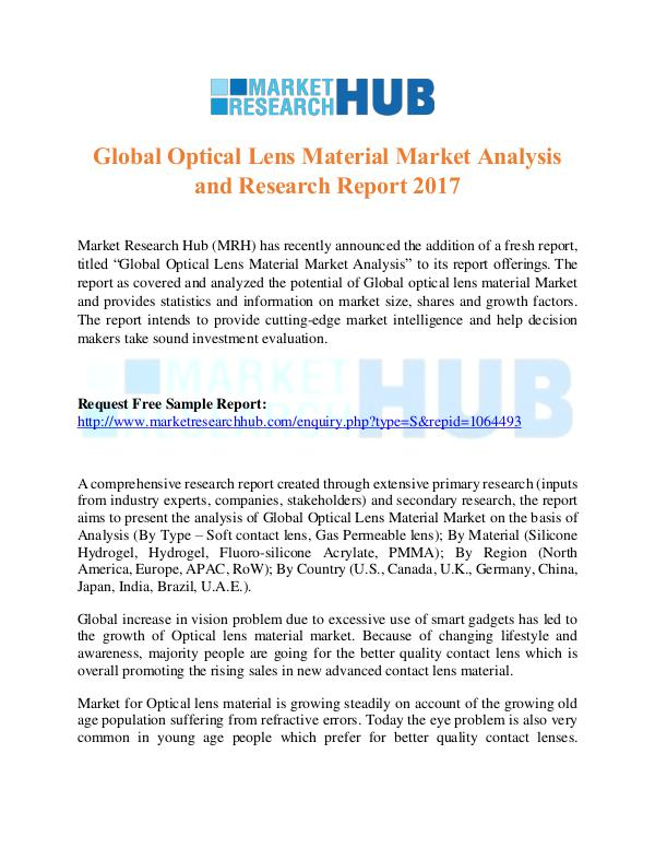 Market Research Report Global Optical Lens Material Market Report 2017