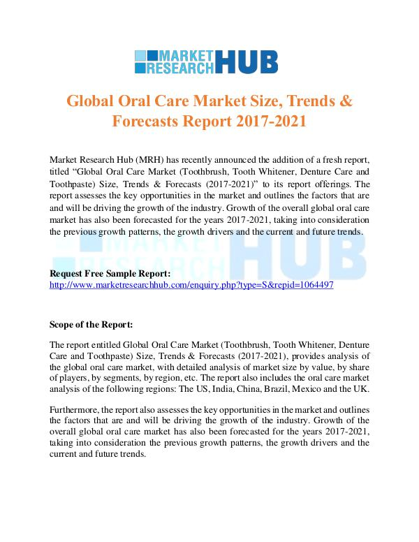 Market Research Report Global Oral Care Market Research Report 2017