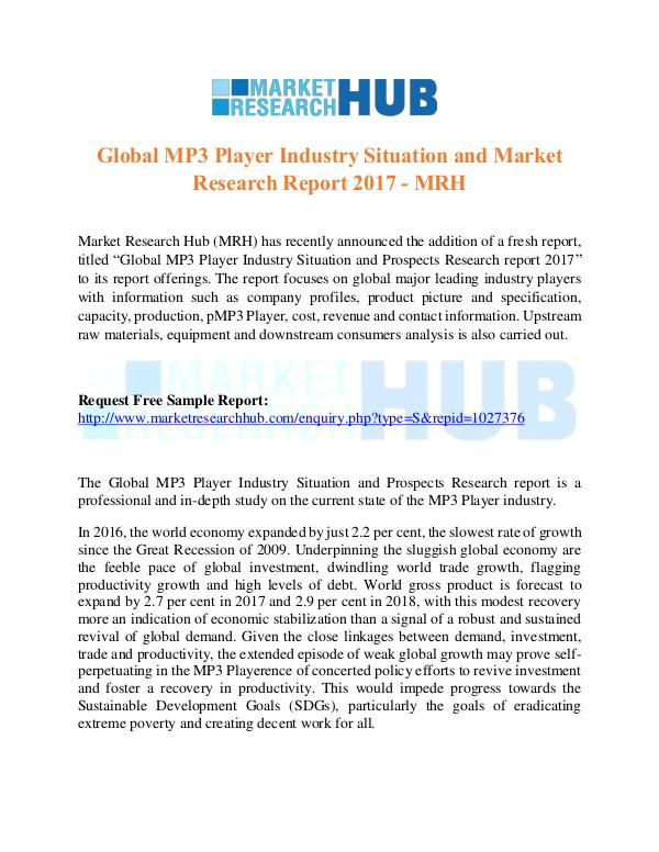 Market Research Report Global MP3 Player Industry Situation Report 2017