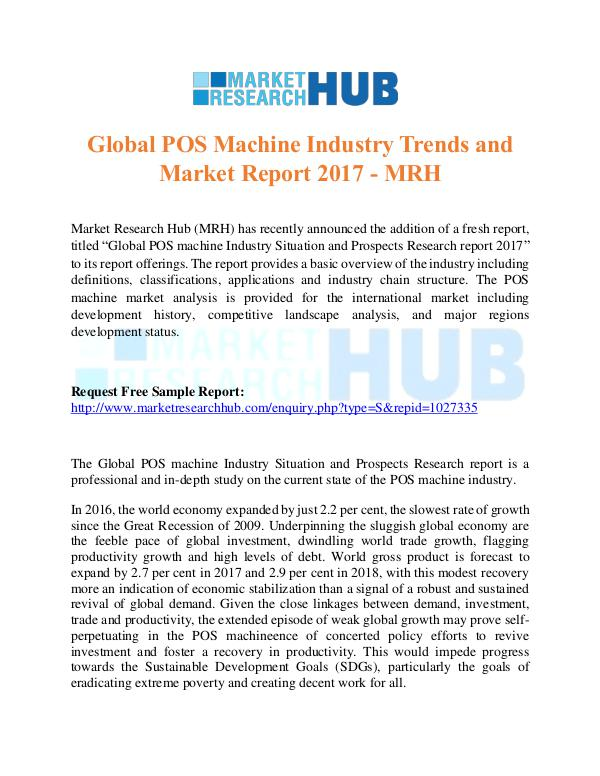 Market Research Report Global POS Machine Industry Trends Report 2017