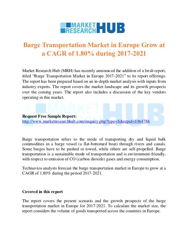 Market Research Report Barge Transportation Market in Europe Market Repor