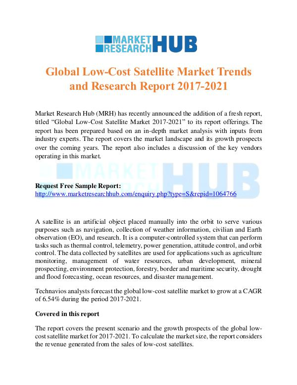 Market Research Report Global Low-Cost Satellite Market Trends Report