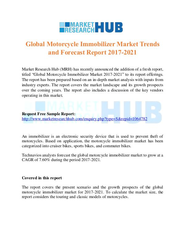 Market Research Report Global Motorcycle Immobilizer Market Report 2017