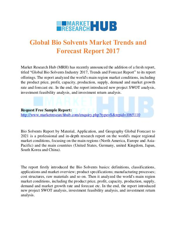 Market Research Report Global Bio Solvents Market Trends Report 2017
