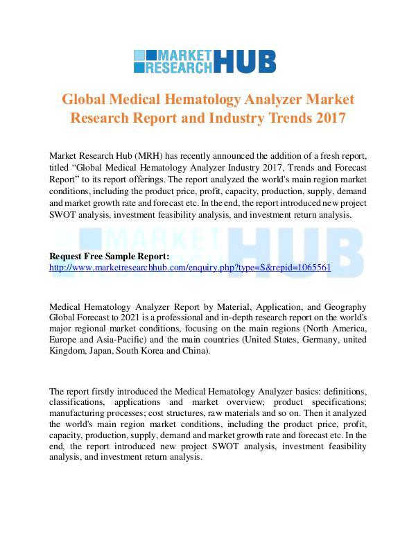 Market Research Report Medical Hematology Analyzer Market Research Report