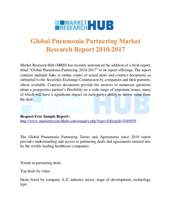 Market Research Report Pneumonia Partnering Market Research Report 2017