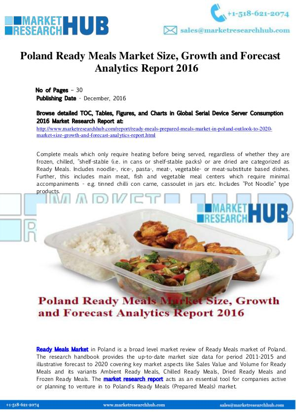 Market Research Report Poland Ready Meals Market Report