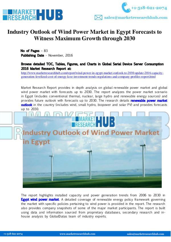 Market Research Report Egypt Wind Power Market Growth and Outlook Report