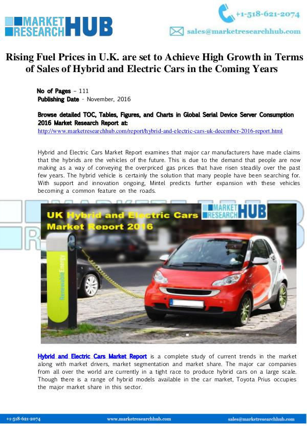Market Research Report Hybrid And Electric Cars