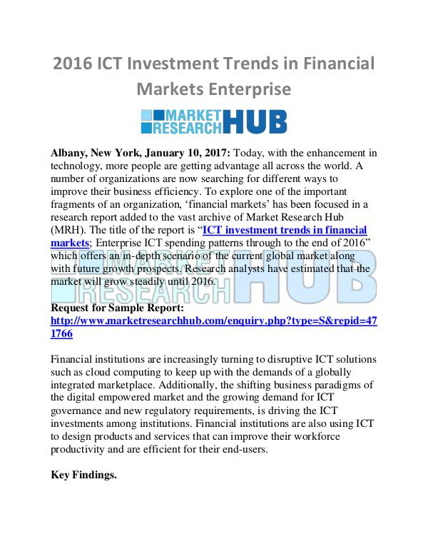 Market Research Report ICT Investment Trends in Financial Markets