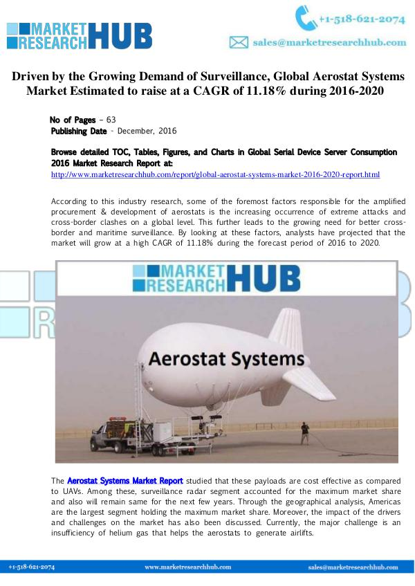 Market Research Report Global Aerostat Systems Market Report 2020