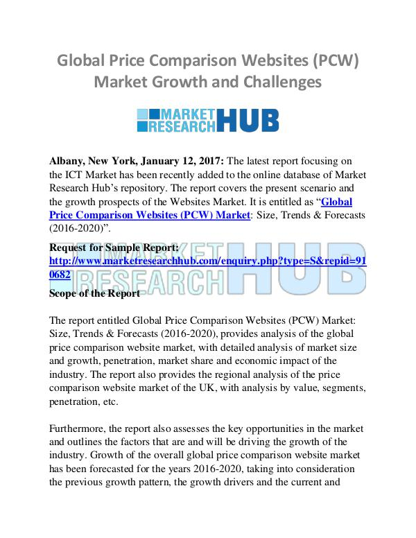 Market Research Report Global Price Comparison Websites (PCW) Market