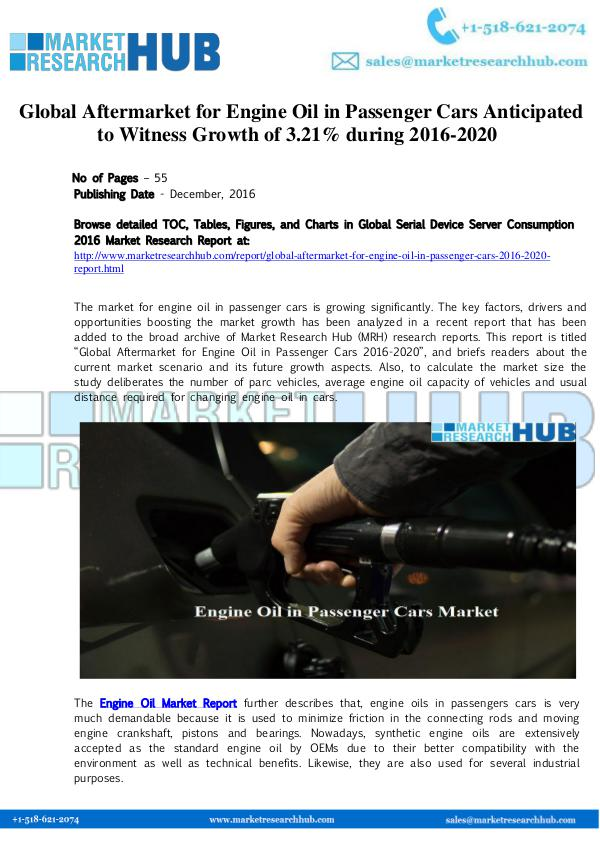 Market Research Report Engine Oil in Passenger Cars Market Research Repor