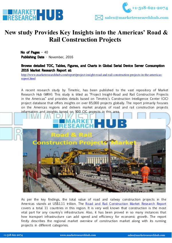 Market Research Report America's Road & Rail Construction Projects