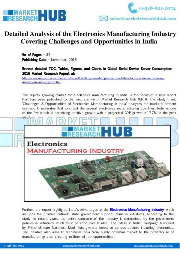 Market Research Report Electronics Manufacturing Industry Research Report