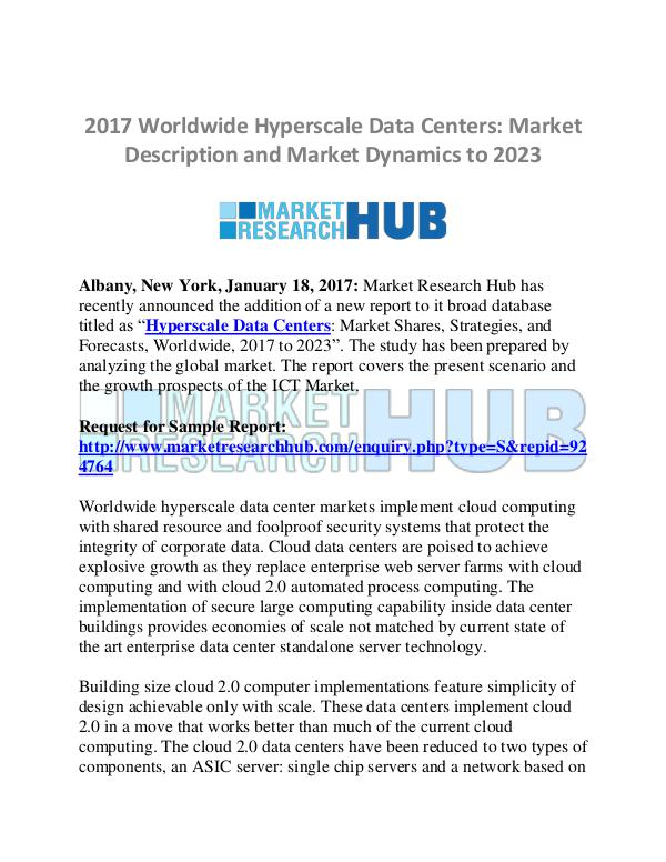 Market Research Report Worldwide Hyperscale Data Centers Market Report