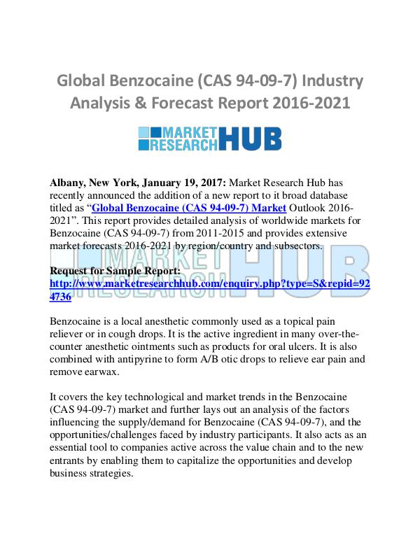 Market Research Report Global Benzocaine (CAS 94-09-7) Industry Analysis