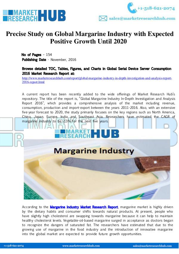 Market Research Report Global Margarine Industry Market Report
