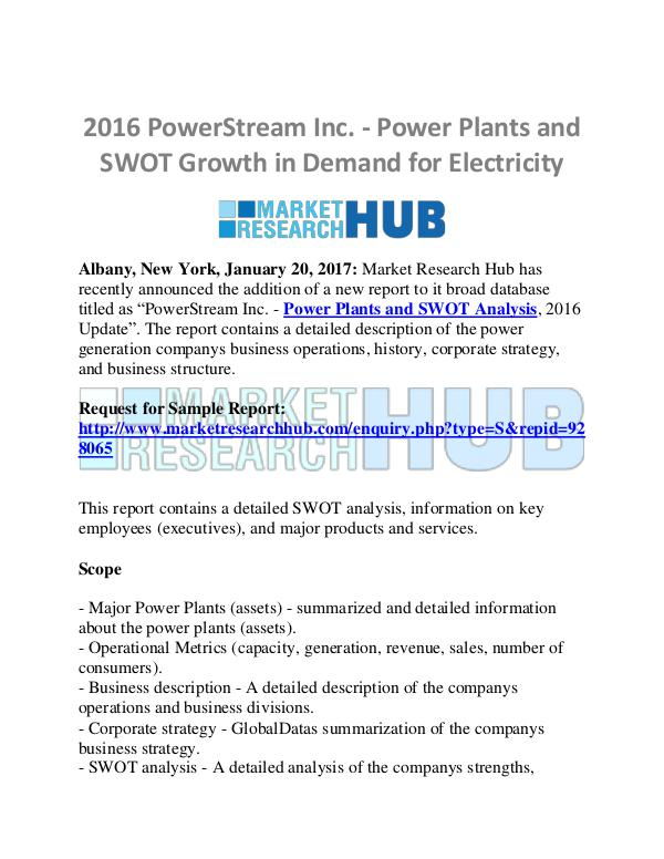 Market Research Report PowerStream Inc. - Power Plants and SWOT Growth