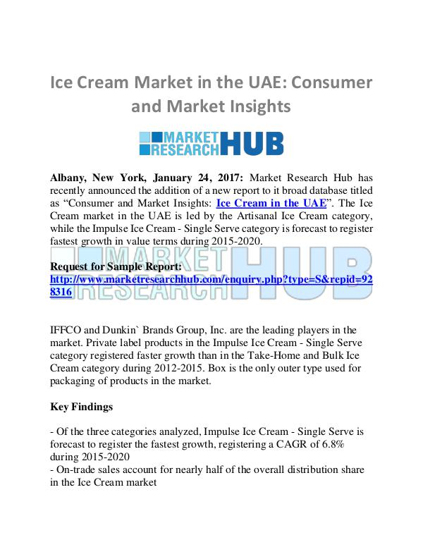 Market Research Report Ice Cream Market in the UAE