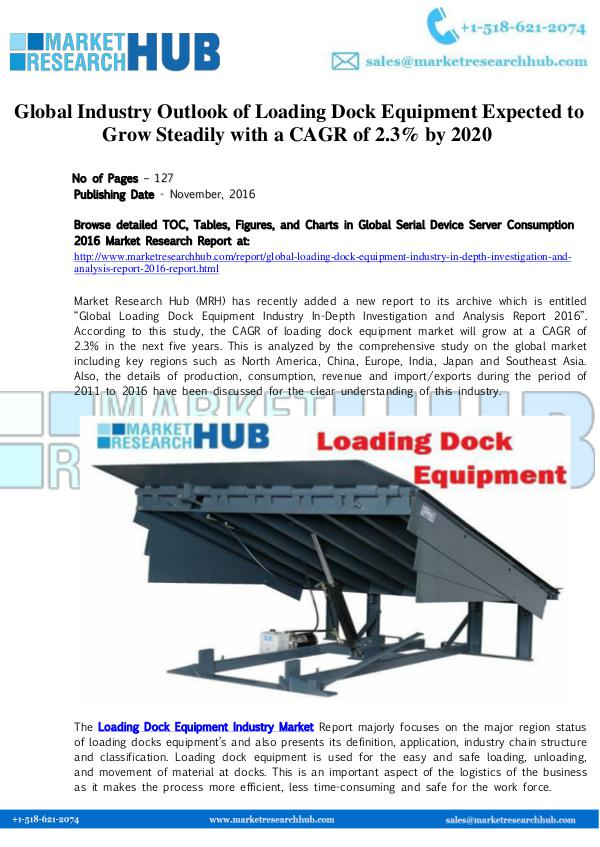 Market Research Report Global Industry Outlook of Loading Dock Equipment