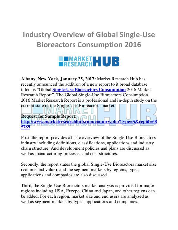 Market Research Report Global Single-Use Bioreactors Consumption Market