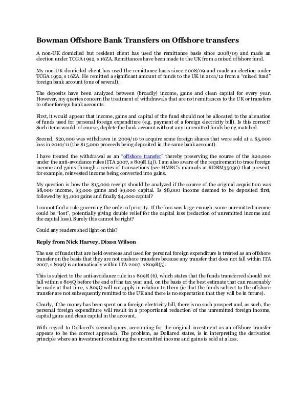 Bowman Offshore Bank Transfer on Offshore transfer