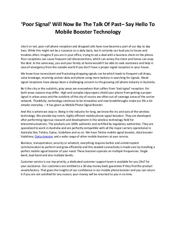 Poor Signal Will Now Be The Talk Of Past– Say Hello To Mobile Booster Data Booster Vodafone