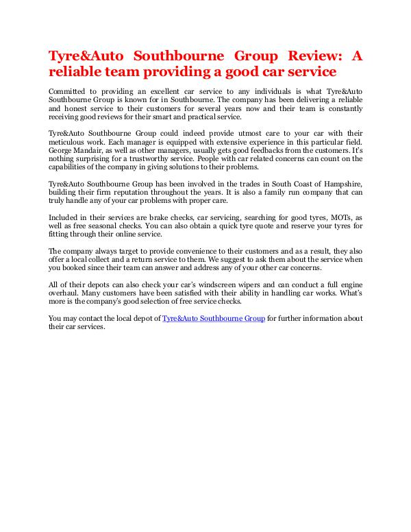 Tom Ruscha A reliable team providing a good car service