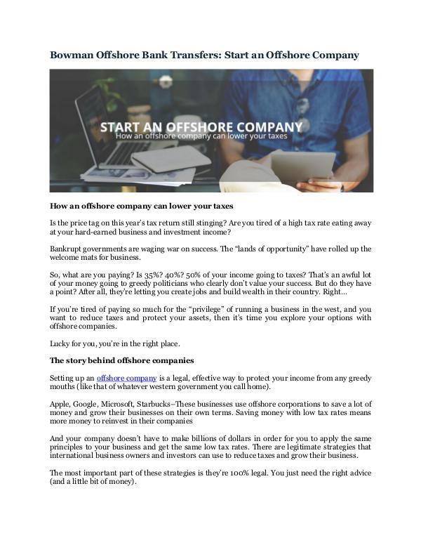 Tom Ruscha Bowman Offshore Bank Transfers: Start an Offshore
