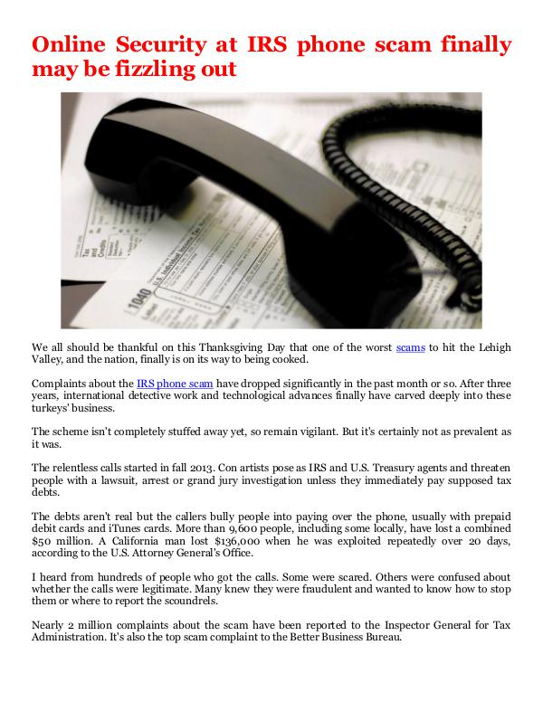 IRS phone scam finally may be fizzling out
