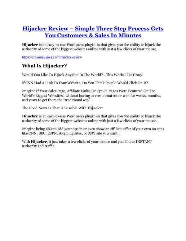 Marketing Hijackrr Review - SECRET of Hijackrr