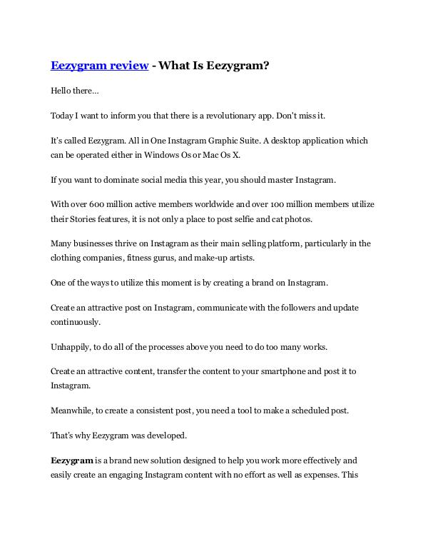 Marketing Eezygram Review and GIANT $12700 Bonus-80% Discoun