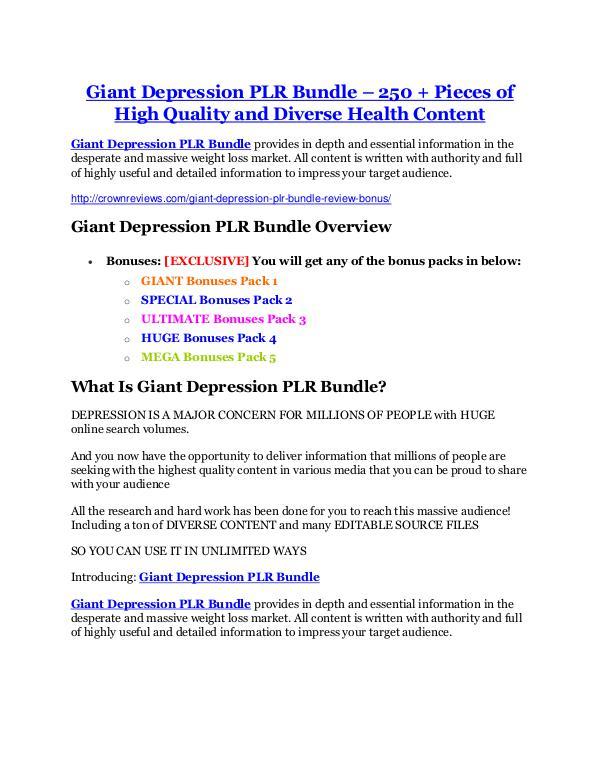 Marketing Giant Depression PLR Bundle Review-(Free) bonus and discount