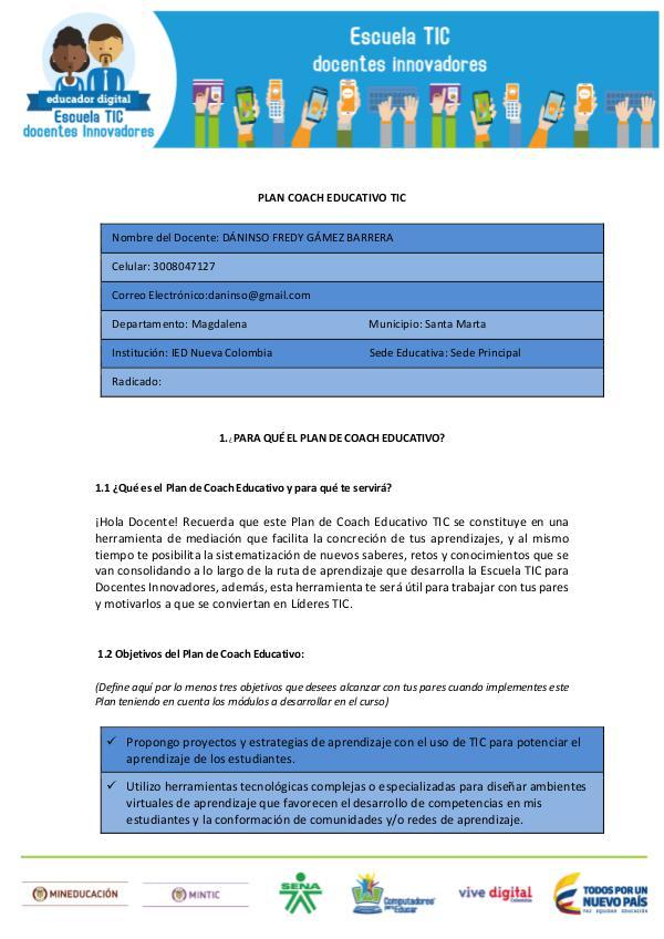 PLAN COACH EDUCATIVO TIC Noviembre. 2016