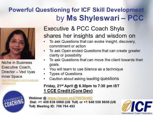 ICF - Powerful Questioning - Webinar-21stApr Powerful Questioning for ICF Skill Development