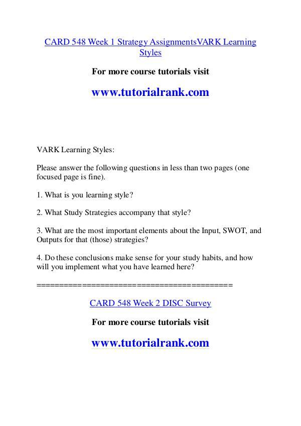CARD 548 Course Great Wisdom / tutorialrank.com CARD 548 Course Great Wisdom / tutorialrank.com