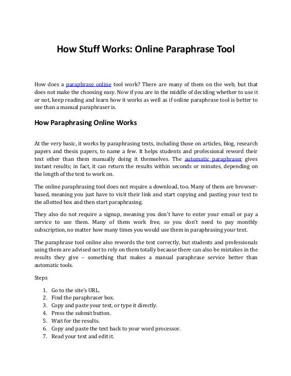 How Does an Online Paraphrase Tool Work? How Does an Online
