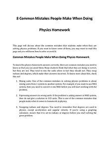 Top 8 Physics Homework Mistakes People Make