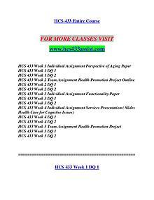 HCS 433 ASSIST Redefine Possible/hcs433assist.com