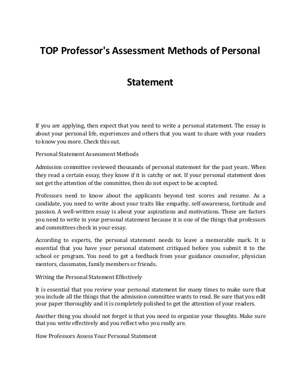 An Idea on How Professor's Assess Your Personal Statement An Idea on How Professor's Assess Your Personal St