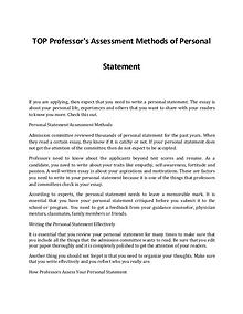 An Idea on How Professor's Assess Your Personal Statement