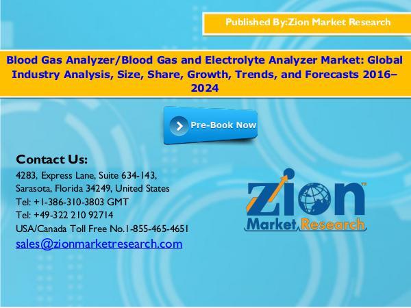 Zion Market Research Blood Gas Analyzer Market, 2016–2024