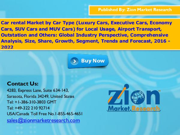 Zion Market Research Car Rental Market, 2016 – 2022