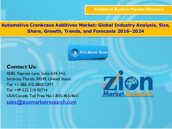 Zion Market Research Global Automotive Crankcase Additives Market, 2016