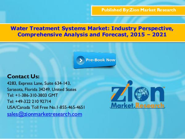 Water treatment systems market, 2015   2021