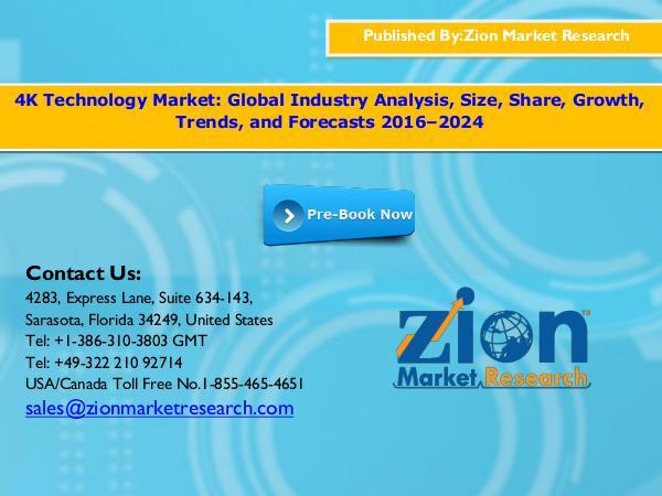 Zion Market Research 4K Technology Market, 2016-2024