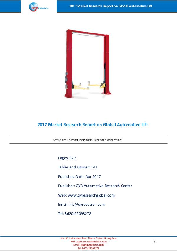 Automotive Lift Market Report 2017
